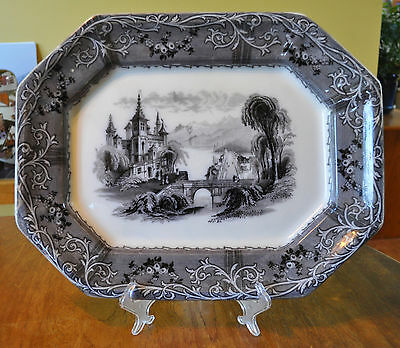 Lovely Antique Staffordshire Flow Mulberry Ironstone Platter Rhone Scenery Mayer