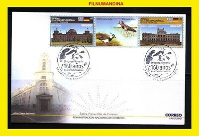 Uruguay 2016 Germany Birds,wines,flags,parlament House Minisheet Fdc