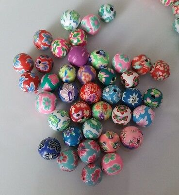 50x Polymer Clay Flower & Assorted Pattern Beads ~ 8mm Round - Randomly Mixed