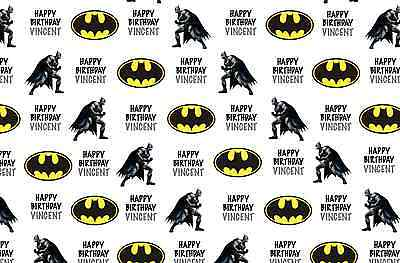 "Personalised Birthday Wrapping Paper ""Batman"" with two tags."