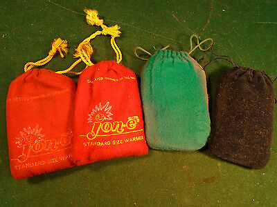 LOT of FOUR VINTAGE HAND WARMERS w/BAGS -   TWO ARE JON-E     (6259-183)