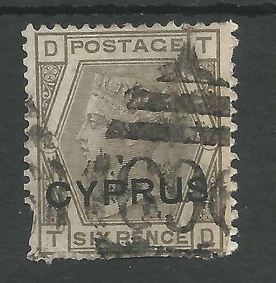 CYPRUS SG5  PL.16 THE 1880 QV  6d GREY USED CAT £650 SPACEFILLER ,SEE SCANS
