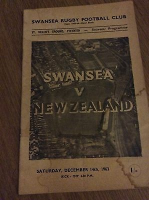 NEW ZEALAND v SWANSEA 1963 RUGBY PROGRAMME
