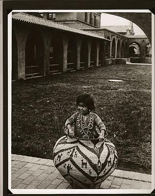 Vintage Native American Photograph Little Girl in Basket with Squash Blossom