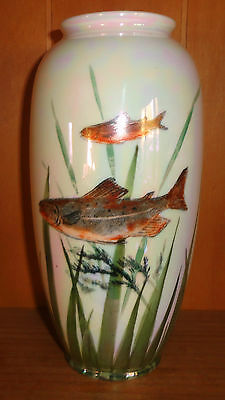 Royal Doulton Large Lustre Art Deco Vase *ULTRA RARE* With Brown Trout!! Mint!!