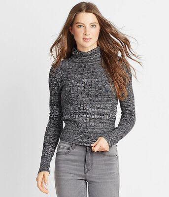 NEW Aeropostale Black & Gray Marled Bodycon Ribbed Turtleneck Sweater (A1-6)