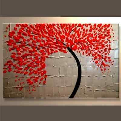 Art Wall Painting Canvas Oil Modern Abstract Frame Decor Framed Huge Red Wood