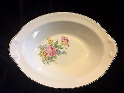"Taylor Smith Taylor Oval Vegetable Serving Bowl 9.5"" X 6.75""  Bouquet  Gold"