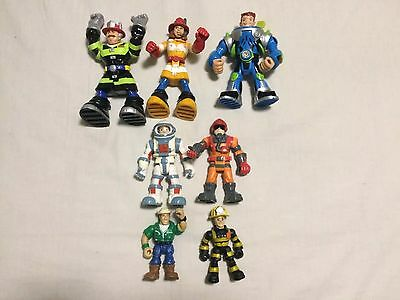 Fisher Price Rescue Heroes 7 Figures Lot Hero Firefighter Fireman Astronaut