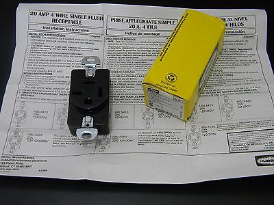 Hubbell HBL4820 3-Phase Receptacle 250V, 20A, 4w, Nema 15-20R, New in Box