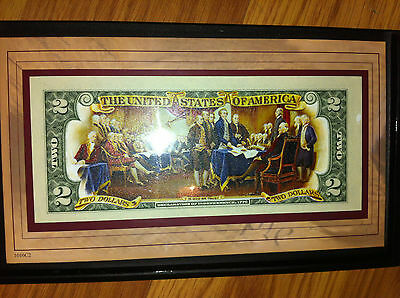 DECLARATION OF INDEPENDENCE COLORIZED $2 BILL Uncirculated  CURRENCY REAL MONEY.