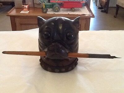 Antique Circa 1880 Black Forest Inkwell