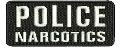 """""""POLICE NARCOTICS"""" embroidery patch 2x5 inches hook white letters"""