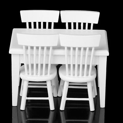 5 piece Model table chair a Manger Set Furniture Doll House Miniature White 05S8
