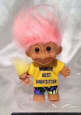 "WORLDS BEST BABYSITTER & BABY 5"" Russ Troll Doll PINK HAIR - NEW IN ORG PACKAGE"