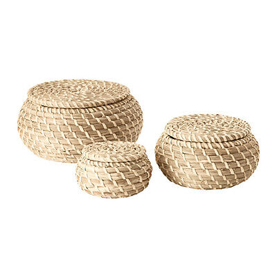 Storage Basket Seagrass Set of 3 with LID Bathroom Bedroom Hanging baskets Box