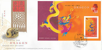 "Hong Kong, 2000, ""year Of Dragon"" $5.00 S/s On Gpo Fdc. Fresh Good Condition"