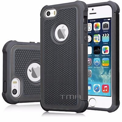 Fits iPhone SE 5 5S Case Shockproof Hybrid Impact Rugged Hard Cover - Black