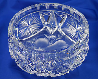 Beautiful High Quality Lead Crystal Fruit Bowl, 17cm - VGC