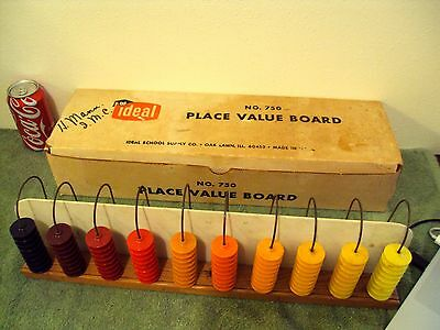 Vintage Collectible Teaching Education Aid Tools IDEAL No. 750 PLACE VALUE BOARD