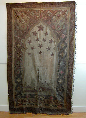 ANTIQUE Ottoman Turkish Metal Thread EMBROIDERY Tapestry Wall Hanging