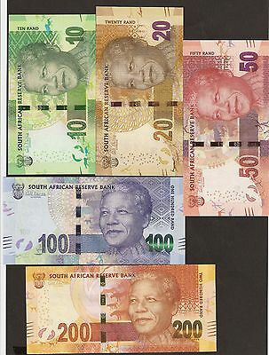 2012 South Africa 10 / 20 / 50 /100 / 200 Rand Matching Signature Uncirculated