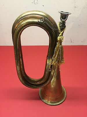Antique Brass Bugle with Mouthpiece, Tassel, and Chain - Vintage Horn