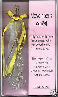 Angel Feather Wing with November Birthstone Heart, Brand New