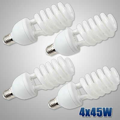 4x45W Studio Photo Fluorescent Daylight Bulbs Continuous CFL Compact Spiral Lamp