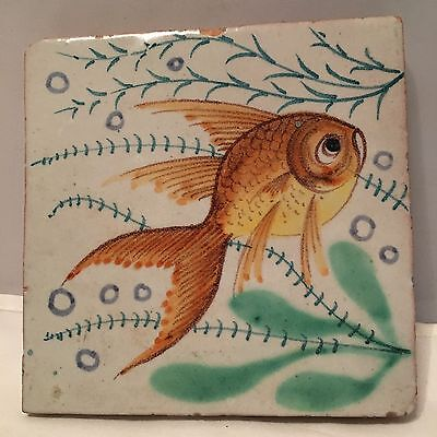 """Vintage Italy Hand Painted Glazed Ceramic Clay Pottery Fish Tile (e) 5.5"""" x 5.5"""""""