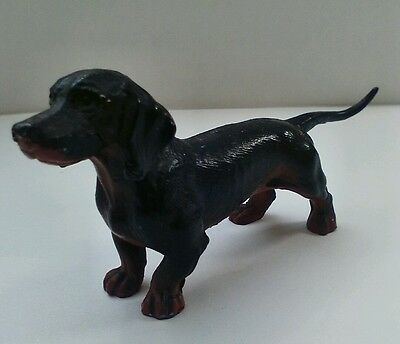 "1.75""x 3.5"" Dachshund Dog Statue Figurine Cast Iron Painted Metal - Antique"
