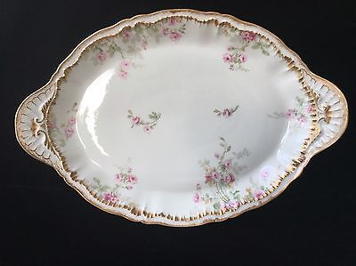 """Theodore Haviland Schleiger 311 14"""" PLATTER with PINK ROSES & Double Gold"""