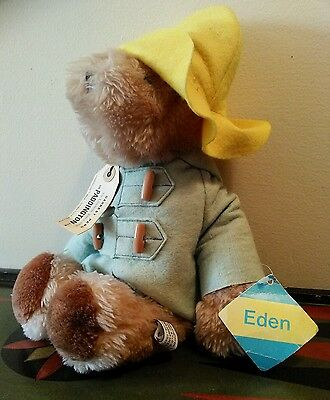 "Vintage 1983 Eden Plush Stuffed PADDINGTON Bear w/tags 15"" tall Darkest Peru"