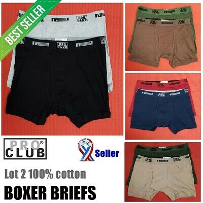 LOT 2 PRO CLUB Boxer Briefs Cotton Proclub Men's Underwear Big and Tall S - 7XL