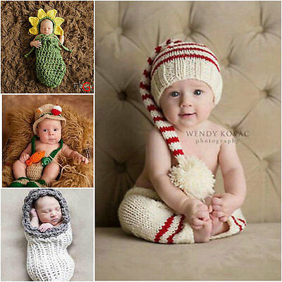 2a4f3828c Newborn Baby Girls Boys Crochet Knit Costume Photo Photography Prop Outfits