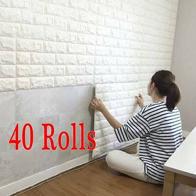 Lots 3D effect Flexible Stone Brick Wall Textured Viny Self-adhesive Wallpaper