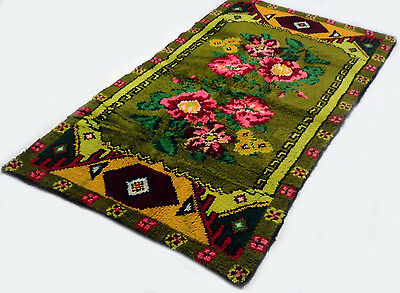 "Antique vintage Turkish floral oriental handmade rug (42"" x 78"") pure wool  #310"
