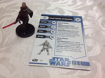 Star Wars Miniature with stat card ultra rare Count Dooku of Serenno 4/6