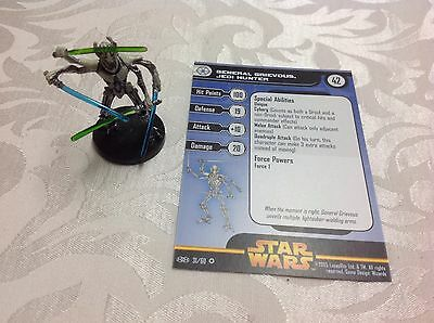 Star Wars Miniature with stat card ultra rare General Grievous Jedi Hunter 31/60