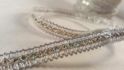 1cm- 1 meter Elegant silver ribbon lace trimming edging with gold middle sequins
