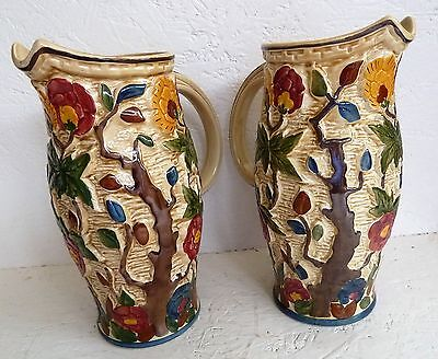Matching Pair H .J.  Wood Indian Tree Tall 24 cm Jugs Colourful Pottery 579