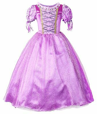 Rapunzel Dress Princess Dress Christmas Cosplay Costume Girls Party Dress Purple