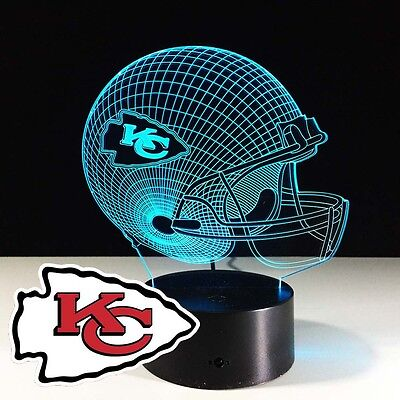 3D Night Light Lamp NFL AFC Kansas City Chiefs Rugby American Football Home New