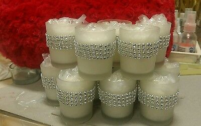 10 Frosted Glass Votive Candle Holders with Diamonte Mesh