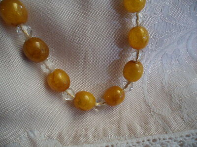 Vintage Butterscotch Amber Beads Necklace With Glass Crystal Beads