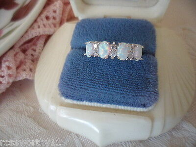 Antique Art Deco Vintage Sterling Silver Opal Ring size 8 or Q with four Opals