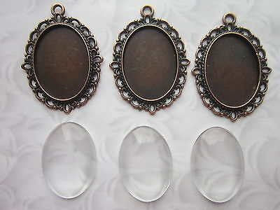 3 x Cabochon Setting Frame With Clear Glass Dome oval cabochons copper 18x25 mm