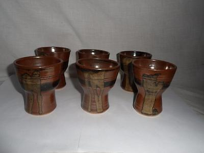 A Set of Six of Goblets Cornish Porthleven Pottery - Brian Jasper 1960's