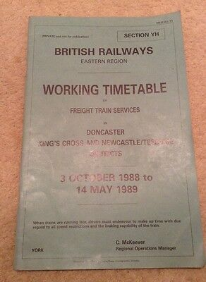 British Railways Eastern Region Timetable Freight Train Services Doncaster Kings