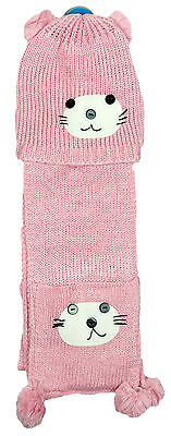 Girls Minx Teddy Bear Knit Hat & Scarf Set 3 to 12 Years CLEARANCE SALE